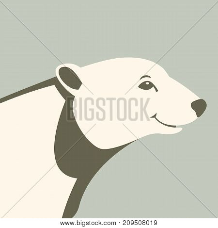bear polar head vector illustration style flat profile side