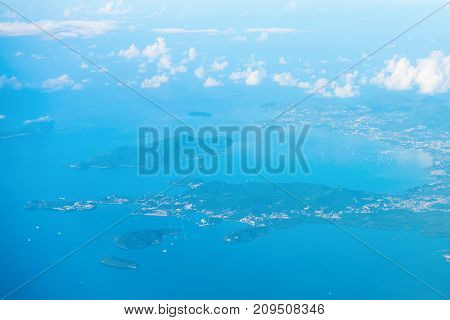 Aerial View Of The Tropical Islands In Blue Sea Water
