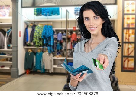 Shop card woman credit background beautiful person
