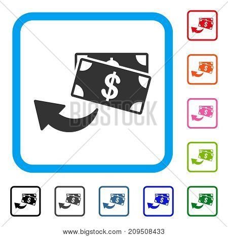 Cashback icon. Flat gray iconic symbol inside a light blue rounded rectangle. Black, gray, green, blue, red, orange color versions of Cashback vector. Designed for web and software UI.