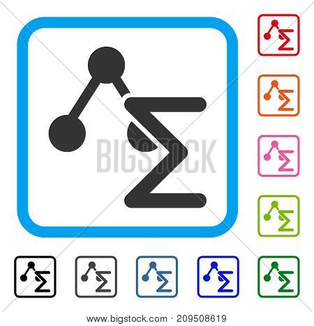 Chemical Formula icon. Flat grey iconic symbol in a light blue rounded rectangle. Black, gray, green, blue, red, orange color additional versions of Chemical Formula vector.