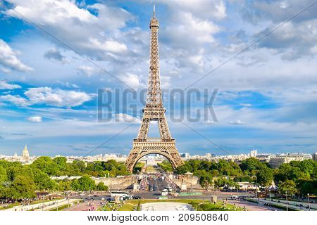The Eiffel Tower on a beautiful summer day in Paris