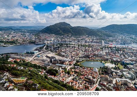 Bergen is a city and municipality in Hordaland on the west coast of Norway. Bergen is the second-largest city in Norway. The view from the height of bird flight. Aerial FPV drone photography.