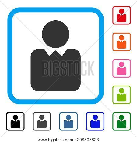Client icon. Flat grey pictogram symbol in a light blue rounded square. Black, gray, green, blue, red, orange color variants of Client vector. Designed for web and app interfaces.