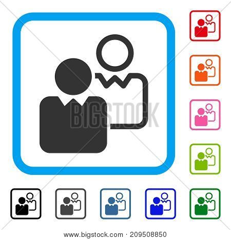 Clients icon. Flat grey iconic symbol in a light blue rounded rectangle. Black, gray, green, blue, red, orange color versions of Clients vector. Designed for web and application user interface.