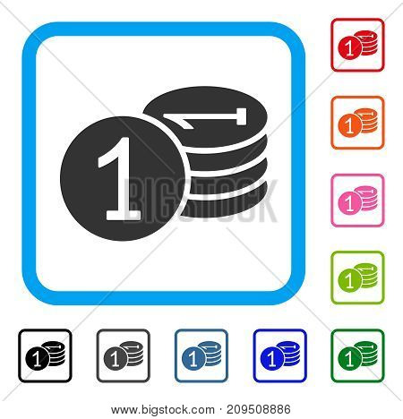 Coins icon. Flat gray iconic symbol in a light blue rounded rectangular frame. Black, gray, green, blue, red, orange color additional versions of Coins vector. Designed for web and software UI.