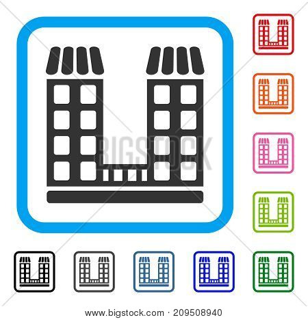 Company Buildings icon. Flat grey iconic symbol in a light blue rounded frame. Black, gray, green, blue, red, orange color variants of Company Buildings vector. Designed for web and application UI.