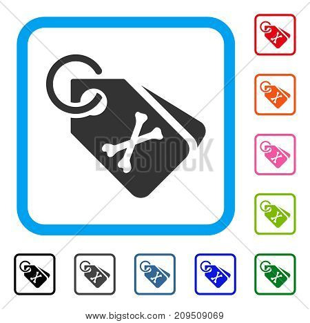Death Bones Tags icon. Flat gray pictogram symbol inside a light blue rounded frame. Black, gray, green, blue, red, orange color versions of Death Bones Tags vector.
