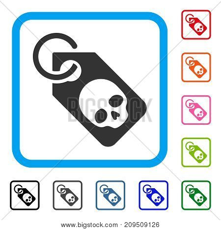 Death Skull Tag icon. Flat grey pictogram symbol inside a light blue rounded frame. Black, gray, green, blue, red, orange color versions of Death Skull Tag vector. Designed for web and application UI.