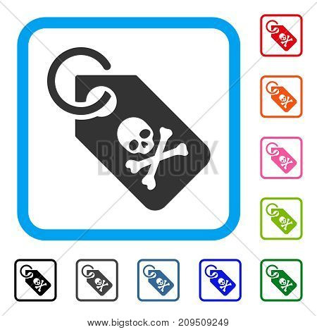 Death Tag icon. Flat grey pictogram symbol inside a light blue rounded frame. Black, gray, green, blue, red, orange color versions of Death Tag vector. Designed for web and app UI.