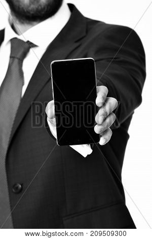 Mobile Phone In Hand Of Man Or Businessman