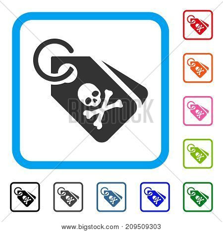 Death Tags icon. Flat grey iconic symbol in a light blue rounded square. Black, gray, green, blue, red, orange color versions of Death Tags vector. Designed for web and application interfaces.