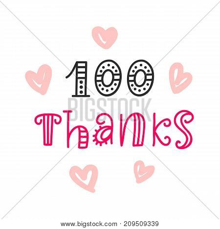 Thanks 100 followers. Vector design template for social network. Celebrating of subscribers.