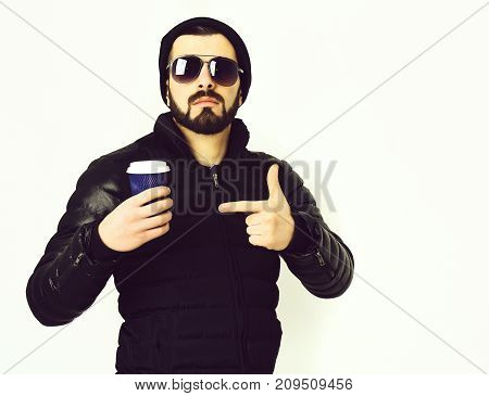 Bearded Man, Brutal Caucasian Hipster With Moustache And Plastic Cup