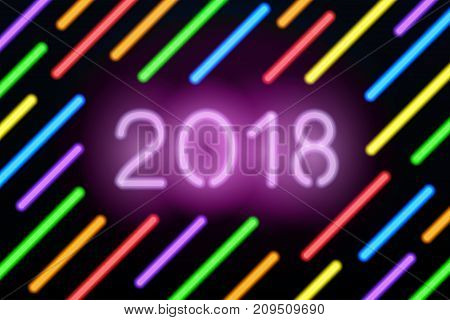 Neon 2018 greeting card. Vector illustration with glowing numbers and color neon lines