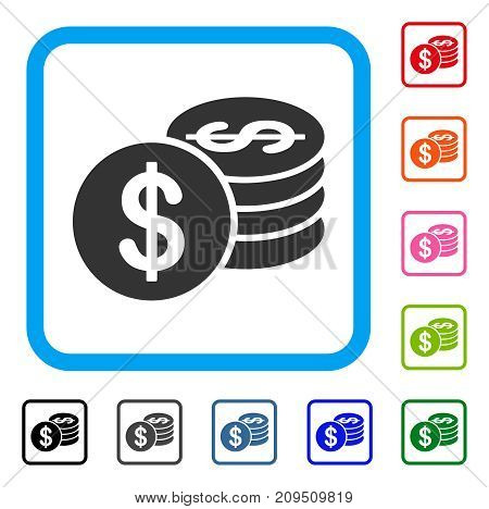 Dollar Coins icon. Flat gray iconic symbol inside a light blue rounded rectangle. Black, gray, green, blue, red, orange color versions of Dollar Coins vector. Designed for web and app user interface.