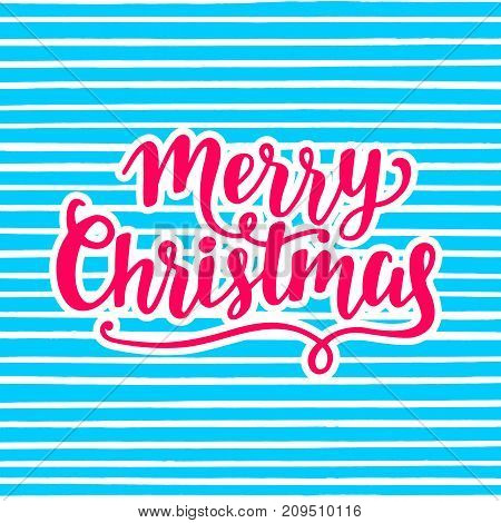 Merry Christmas greeting card. Hand lettering in pink and blue bright colors. Typography design. Modern calligraphy. Holiday vector illustration