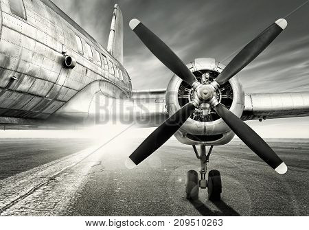 old aircraft is waiting for a last take off