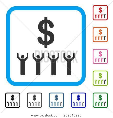 Dollar Religion icon. Flat grey pictogram symbol inside a light blue rounded rectangle. Black, gray, green, blue, red, orange color versions of Dollar Religion vector. Designed for web and app UI.