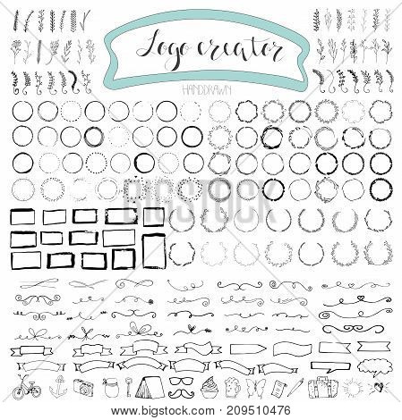 Handdrawn logo elements with arrows ribbons laurels badges squares circles. Design your own perfect logo. Logotype templates. Logo design isolated on background and easy to use. Vector illustration