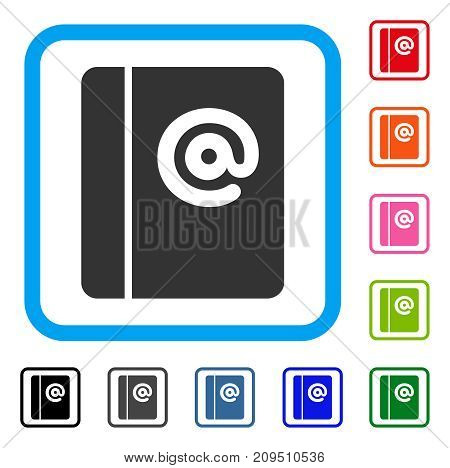 Emails icon. Flat gray pictogram symbol in a light blue rounded frame. Black, gray, green, blue, red, orange color variants of Emails vector. Designed for web and app interfaces.