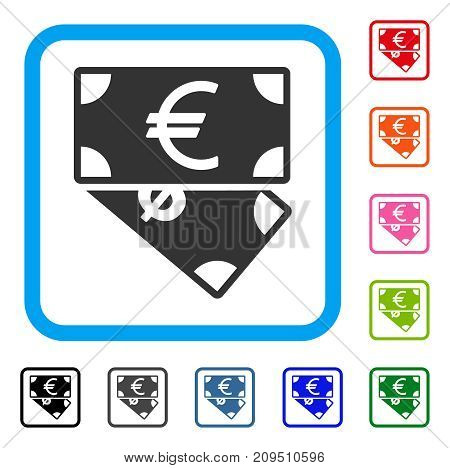 Euro And Dollar Banknotes icon. Flat gray pictogram symbol inside a light blue rounded rectangle. Black, gray, green, blue, red, orange color additional versions of Euro And Dollar Banknotes vector.