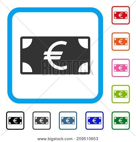 Euro Banknote icon. Flat gray iconic symbol in a light blue rounded squared frame. Black, gray, green, blue, red, orange color variants of Euro Banknote vector. Designed for web and application UI.