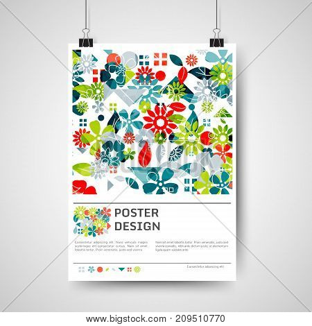 Abstract colorful poster design with abstract floral background