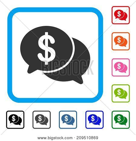 Financial Chat icon. Flat gray pictogram symbol in a light blue rounded rectangle. Black, gray, green, blue, red, orange color versions of Financial Chat vector. Designed for web and application UI.