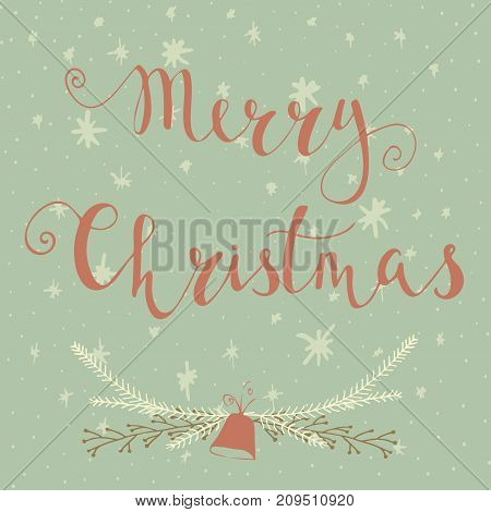 Merry Christmas Text Label On A Winter Background With Snow And Snowflakes. Greeting Card Template