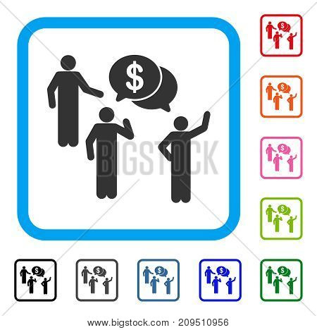 Financial Discussion Group icon. Flat grey pictogram symbol in a light blue rounded frame. Black, gray, green, blue, red, orange color additional versions of Financial Discussion Group vector.