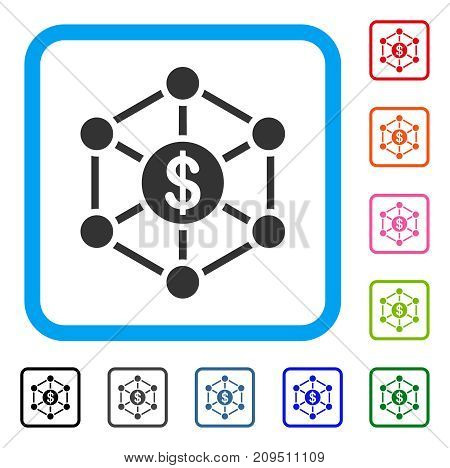 Financial Network icon. Flat grey pictogram symbol in a light blue rounded rectangle. Black, gray, green, blue, red, orange color variants of Financial Network vector. Designed for web and app UI.