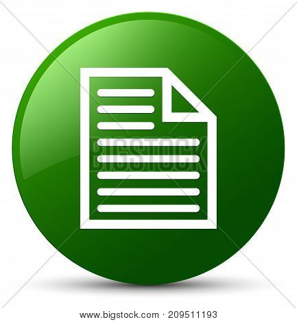 Document Page Icon Green Round Button