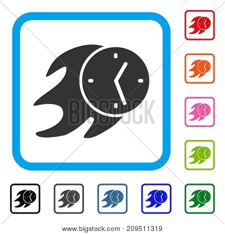 Fire Deadline Clock icon. Flat grey iconic symbol in a light blue rounded squared frame. Black, gray, green, blue, red, orange color additional versions of Fire Deadline Clock vector.