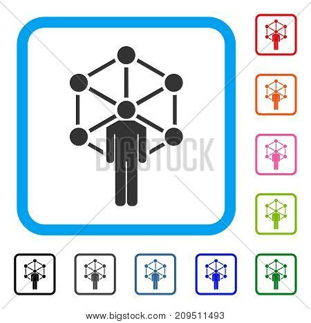 Human Network icon. Flat gray iconic symbol in a light blue rounded rectangle. Black, gray, green, blue, red, orange color additional versions of Human Network vector.