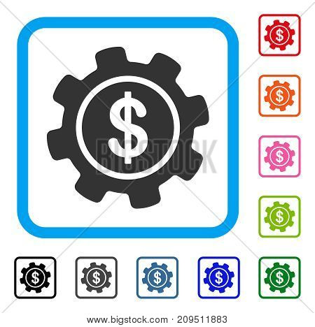 Payment Options Gear icon. Flat gray iconic symbol in a light blue rounded squared frame. Black, gray, green, blue, red, orange color additional versions of Payment Options Gear vector.