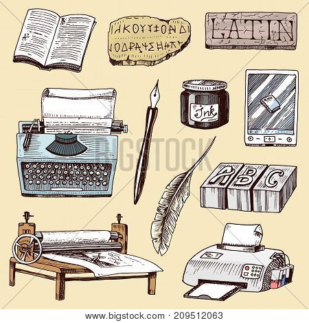 Book-printing typography publishing-house history hand drawn typewriter work industry tools vector illustration. Literature study brochure offset sketch equipment.