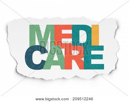 Healthcare concept: Painted multicolor text Medicare on Torn Paper background