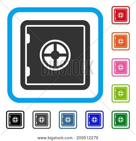 Safe icon. Flat gray pictogram symbol inside a light blue rounded frame. Black, gray, green, blue, red, orange color additional versions of Safe vector. Designed for web and software interfaces.