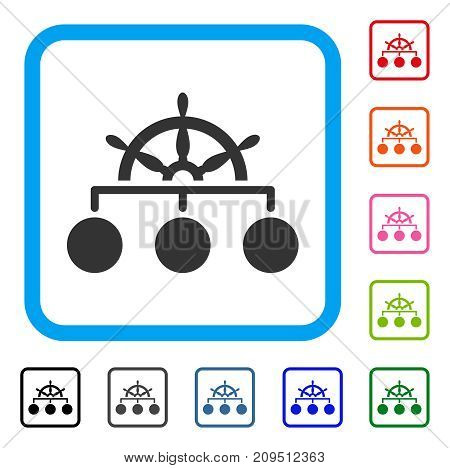 Ship Wheel Hierarchy icon. Flat gray iconic symbol in a light blue rounded rectangular frame. Black, gray, green, blue, red, orange color variants of Ship Wheel Hierarchy vector.
