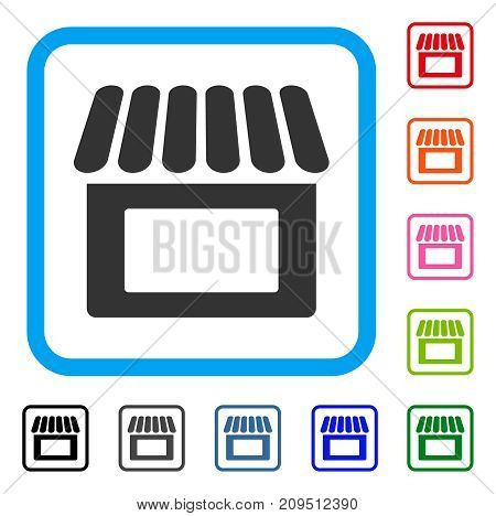 Shop icon. Flat grey iconic symbol inside a light blue rounded square. Black, gray, green, blue, red, orange color additional versions of Shop vector. Designed for web and application UI.