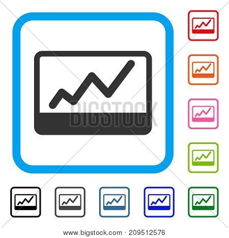 Stock Market Chart icon. Flat grey pictogram symbol in a light blue rounded rectangle. Black, gray, green, blue, red, orange color additional versions of Stock Market Chart vector.