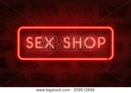 Sex shop neon. Vector red sign on the wall. Adult store