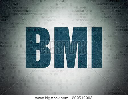 Medicine concept: Painted blue word BMI on Digital Data Paper background