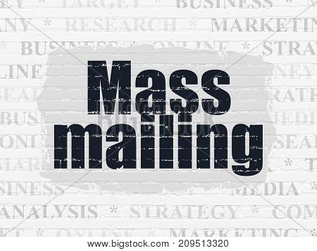 Marketing concept: Painted black text Mass Mailing on White Brick wall background with  Tag Cloud
