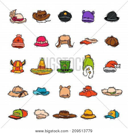 Different holiday carnaval hat fashion accessory party celebration for masquerad clothing vector illustration. Funny fabric cap costume hand drawn wear.