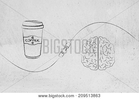 Coffee And Brain With Plug In Between