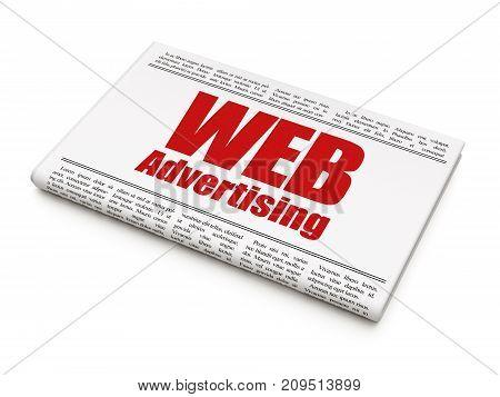 Marketing concept: newspaper headline WEB Advertising on White background, 3D rendering