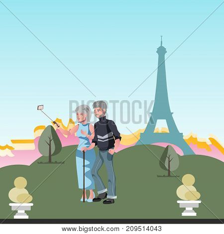Old couple, travel together. Cartoon vector illustrtion