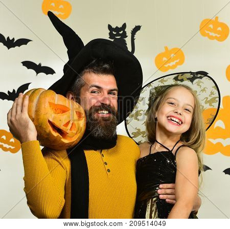 Girl And Bearded Man With Smiling Faces On White Background